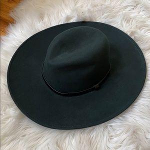 Dark Green Wool Felt Wide Brim Hat